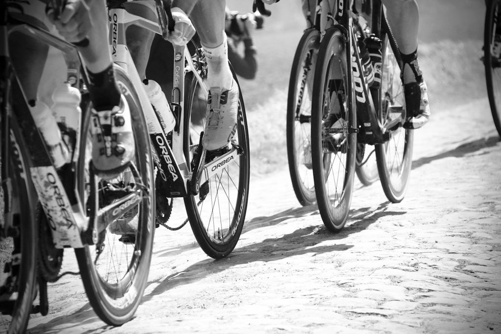 cyclists black and white in Tour de France