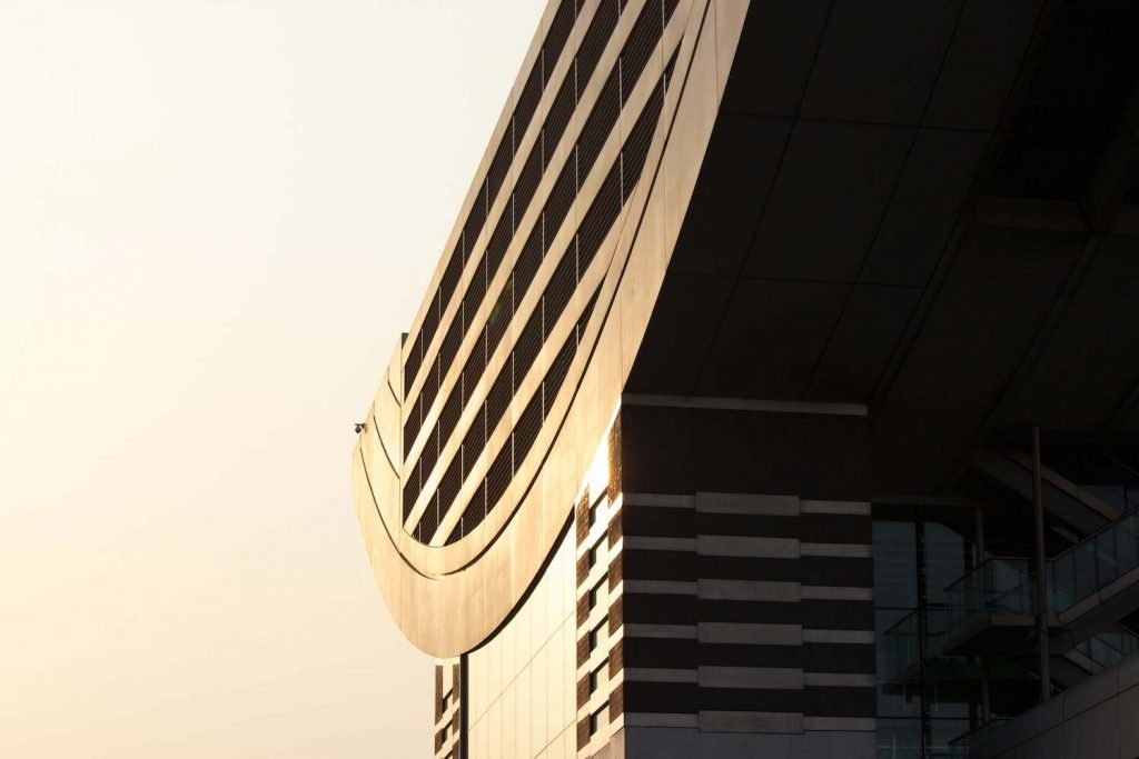 Sunlight on a modern building facade